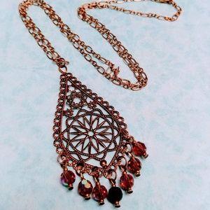 Brass Filigree & Czech Glass Necklace